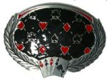 4 ACES ON WREATH BELT BUCKLE + display stand
